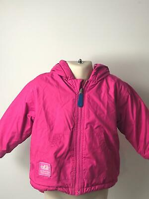 Girls Jojo Maman Bebe Pink Hooded Warm Raincoat Jacket Kids Age 18-24 Months