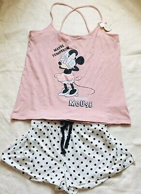 Primark Ladies DISNEY MINNIE MOUSE Pyjamas Women's Girls Cami Vest Top Shorts