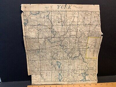 Antique Hand-Drawn Map, York Township, Elkhart County Indiana, Hinckley Surveyor