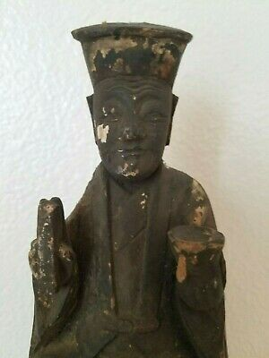 Asian Religious Wood Carved Figure (Santos Figure) with Prayer Note