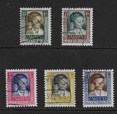 1930 Luxembourg Child Welfare Set Prince Charles Sg290-294 Fine Used Cat £100