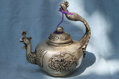 Ancient Precious Decor Miao Silver Carving Peacocks & Flowers Exquisite Tea Pot