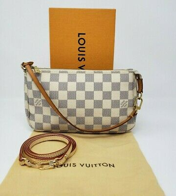 Authentic LOUIS VUITTON DAMIER AZUR POCHETTE ACCESSOIRES N51986 CROSS BODY