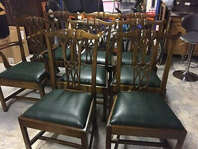 Solid Mahogany Chippendale dining Chairs 8 chairs (6+2 carvers)