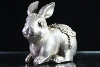 Handwork Auspicious Miao Silver Carving Rabbit Bring Blessings Exquisite Statue