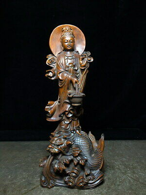 Collectable Rare Boxwood Carving Guanyin Bodhisattva Step Dragon Elegant Statue