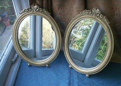 Old Vintage Pair Victorian Style Gold Oval Wall Standing Dressing Table Mirror o