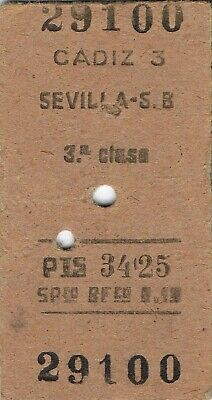 Railway tickets Spain Cadiz to Sevilla - San Bernardo third class single 1958