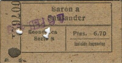 Railway tickets Spain Saron to Santander economy single 1959?