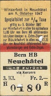 Railway ticket Switzerland Bern to Neuchatel third class return 1947