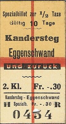 Railway ticket Switzerland Kandersteg to Eggenschwand second class return