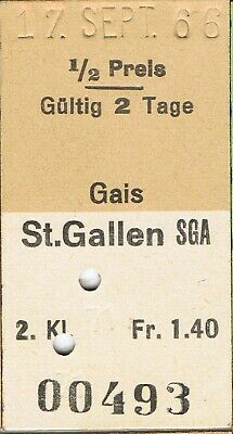 Railway ticket Switzerland Gais to St. Gallen second class single 1966