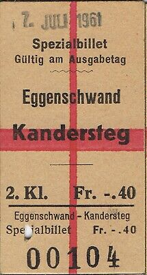 Railway ticket Switzerland Eggenschwand to Kandersteg second class single 1961