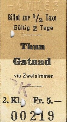 Railway ticket Switzerland Thun to Gstaad second class single 1963