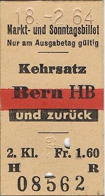Railway ticket Switzerland Kehrsatz to Bern second class return 1964
