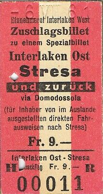 Railway ticket Switzerland Italy Interlaken Ost to Stresa return 1961