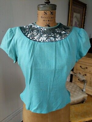 Vintage 1940s Blouse Shirt Blue Puff Shoulders Silver Sequined Collar Orig Label