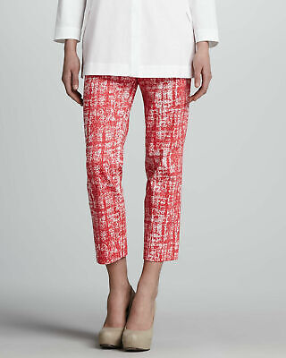 Lafayette 148 New York Womens Pants Sz 10 Cropped Red White Flat Front Front Zip