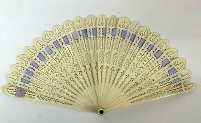 Antique Fan early 19th century carved bone Brise Ribbon