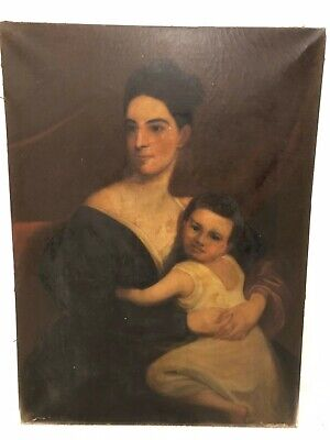 c 1860s Antique American 19th Century Portrait Large Oil Painting Mother Child a