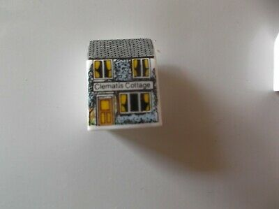 Bronte China England Miniature House Shape Thimble - Clematis Cottage