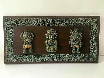 Vintage Aztec/Mayan Wooden Wall Plaque Crushed Malachite 3 Gods/Warriors 16 x 8""