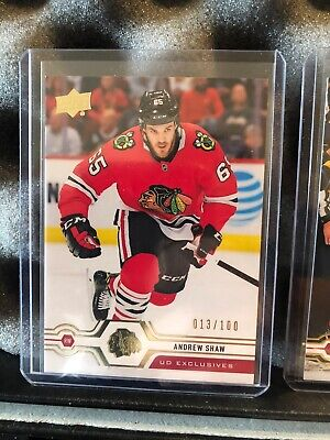 2019-20 UPPER DECK SERIES 2 UD Exclusives  013/100 Andrew Shaw BLACKHAWKS RARE!