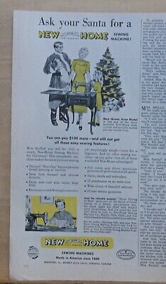 1940 magazine ad for New Home Sewing Machines - Ask Santa for new Queen Anne