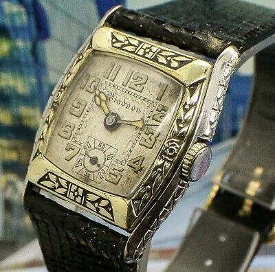 Vintage mens Windsor 1920s Etched ENAMELED BEZEL*EXTREME* ART DECO 2 Tone Watch