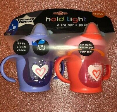 Tommee Tippee Hold Tight Trainer Sippee Cup 9 oz. 2 Count-pink and Purple 7M+
