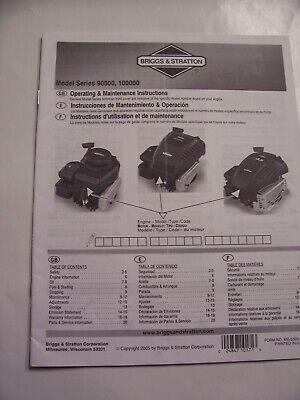 Briggs & Stratton Engine Model Series 90000 100000 Operating Manual Maintenance