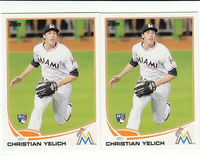 Lot of (2) 2013 Topps Update US290 Christian Yelich RC Brewers Marlins Rookie