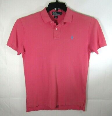 POLO RALPH LAUREN Men's Soft Polo Shirt M Medium Pink w/ Blue logo EUC