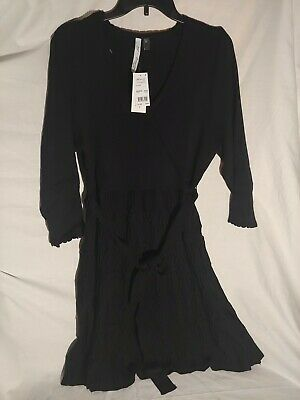 NY Collection Womens Sweater Dress Black Size 2XP Plus V-Neck Ribbed $70