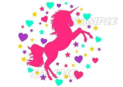 IRON ON TRANSFER Unicorn Pink with Love Hearts - T-shirt outfit