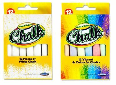 Pack of 12 Chalks White Coloured Chalk Sticks School Art Blackboard Pavement