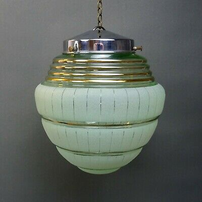Art Deco Glass Lamp Shade ~ Green with Frosted Banding ~ 2 of pair / Globe Light