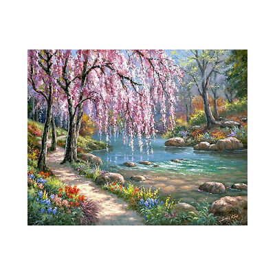 Oil Painting By Numbers Kit Craft DIY Paint On Canvas Spring Scenery Frameless