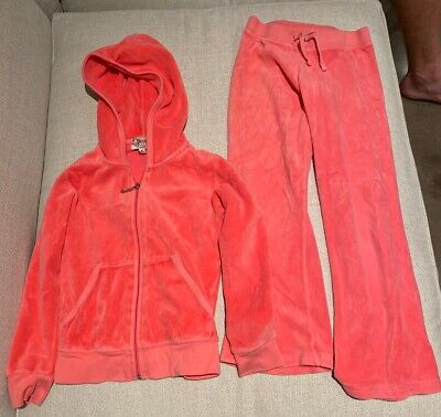 Juicy Couture Pink Velour Tracksuit Girls Size 6 LIKE NEW