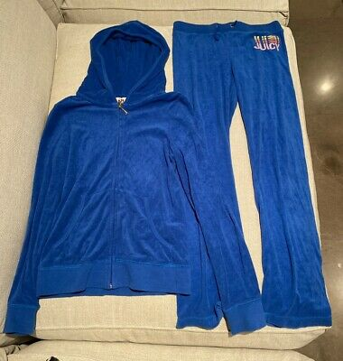 Juicy Couture Blue Velour Tracksuit Girls Size 12 LIKE NEW
