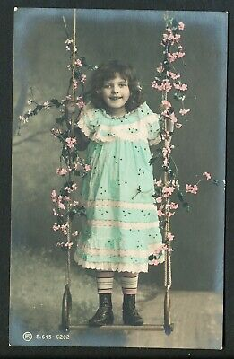 Used Glamour Postcard Child on Swing (879)