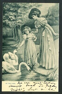"""Postcard """"By the Lake"""" Mother and Child with Swans (877)"""
