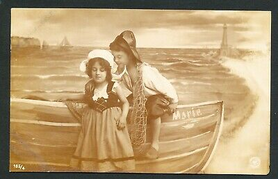 Used Photograph Postcard Children and Boat (876)