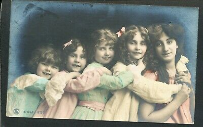 Used Glamour Postcard Mother and Children (875)