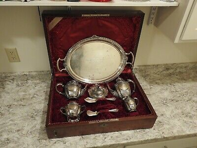 Antique Sterling Silver Tea Service U.S Navy Maritime Chicago Montevideo Uruguay