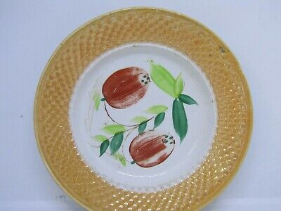 Antique pottery small plate - country Kitchen spongeware style - 19th century