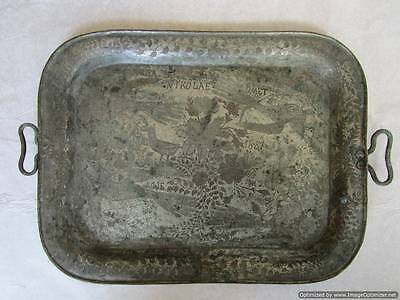 UNIQUE! Extremely rare ! Handmade copper silver plated tray, ROMANIA 1887 - RRR!