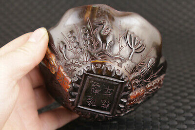 Chinese yak horn Handcarved crane flower statue bowl Wine cup Tea cup