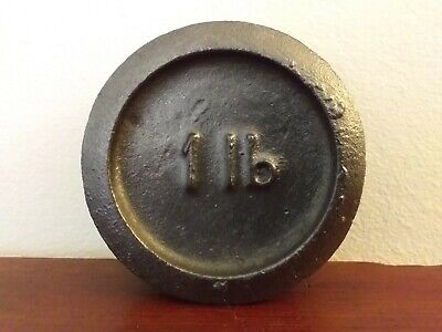 Collectable Vintage Round Cast Iron 1lb Weight - Great Paperweight
