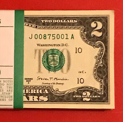 2017 A (1) Two Dollar Bill $2 Note ( CHICAGO ) Consecutive ,Uncirculated
